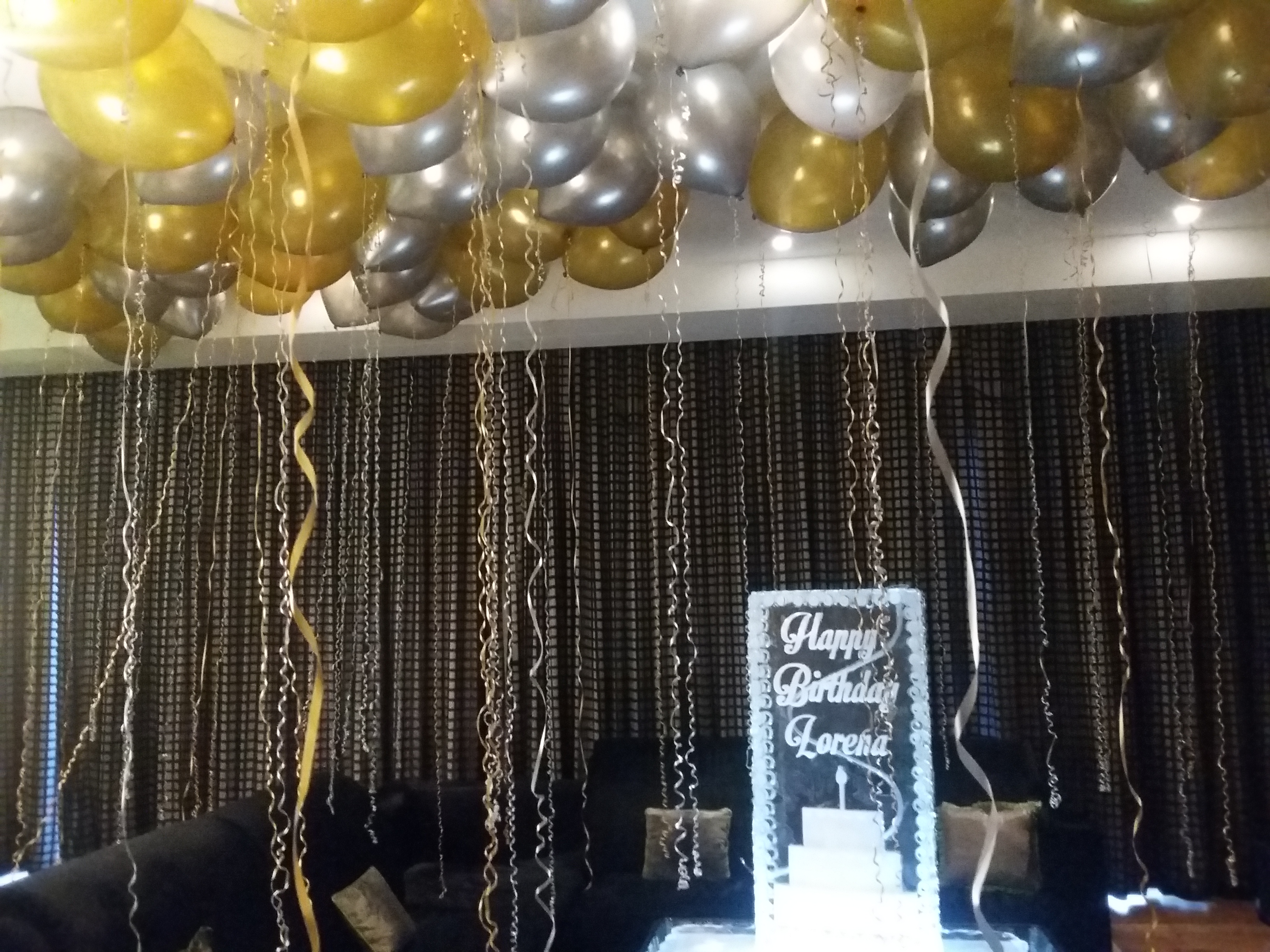 Balloons and Ice sculpture in the suite